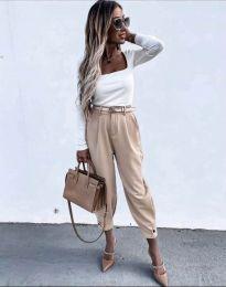Дамски панталон с колан в бежово с широка кройка - код 2109