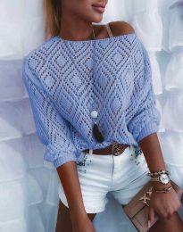 Дамска блуза от плетиво с голо рамо в светлосиньо - код 4701