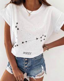 Дамска тениска с принт зодия риби в бяло - код 2342