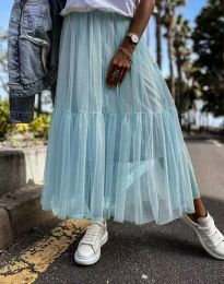 Разкроена дамска пола в синьо от тюл - код 1130
