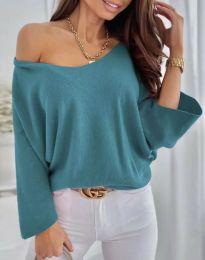Дамска елегантна свободна блуза с паднало рамо в цвят тюркоаз - код 6289