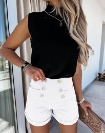 Къси елегантни панталонки в бяло - код 6815