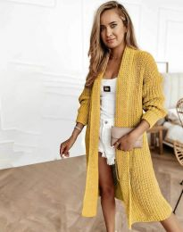 Дълга плетена дамска жилетка в жълто - код 4075