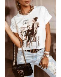 Дамска тениска в бяло с принт - код 5659