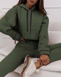 Спортен дамски комплект с долнище с висока талия и суичър с качулка в масленозелено - код 6241