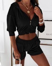 Къс дамски сет суичър с цип и качулка и къси панталонки в черно - код 6740