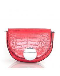 Дамска чанта в червено с капак и заоблена форма - код DM-13
