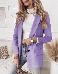 Елегантно дамско палто в лилаво - код 1345