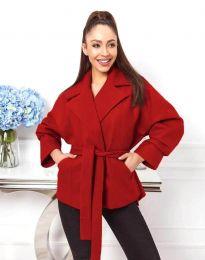 Късо дамско палто с колан в червено - код 0121