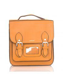 Дамска чанта в кафяво с капак с катарами - код SP9027