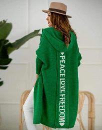 Жилетка дълга плетена с качулка в зелено - код 3162