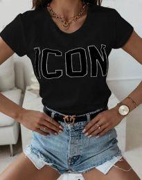 Дамска тениска в черно с надпис - код 11793
