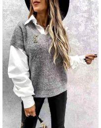 Džemper - kod 6653 - siva