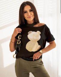 Атрактивна тениска с принт в черно - код 11711