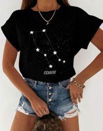 Дамска тениска с принт зодия близнаци черно - код 2342