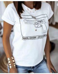 Дамска тениска с принт в бяло - код 3024