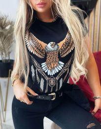 Дамска тениска в черно - код 4375