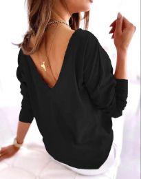 Свободна елегантна дамска блуза с гол гръб в черно - код 5173