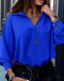 Свободна елегантна дамска риза с дълъг ръкав в синьо - код 2753