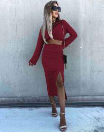 Ефектен дамски комплект къс топ с дълъг ръкав и пола с висока талия в цвят бордо - код 3978