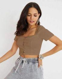 Къса дамска блуза с връзки в цвят капучино - код 1297