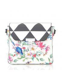 Дамска чанта в черно с капак и флорални мотиви - код HS - 5136