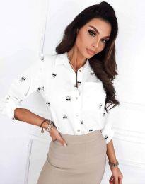 Атрактивна елегантна вталена дамска риза в бяло - код 3223 - 4