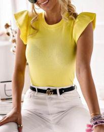 Дамска тениска в жълто с къдрички - код 5955