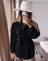 Дамско палто с копчета и колан в черно - код 6398