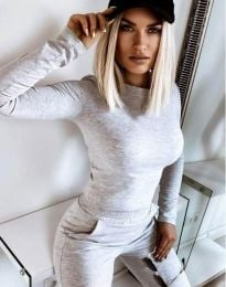 Дамски спортен комплект долнище и блуза с дълъг ръкав в сиво - код 12056