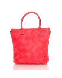 Дамска чанта в червено с ефект преплетена кожа - код LS594