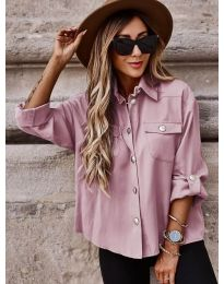 Дамска риза в цвят пудра широка кройка - код 5293