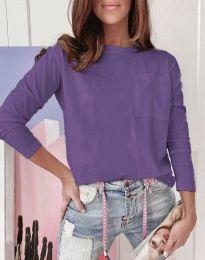Дамска изчистена блуза в лилаво - код 1147