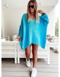 Свободна дамска плетена туника в синьо - код 4167