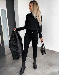 Дамски екип с поло блуза и елегантен спортен панталон в черно - код 6394