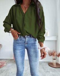 Елегантна свободна дамска риза с дълъг ръкав в масленозелено - 7291