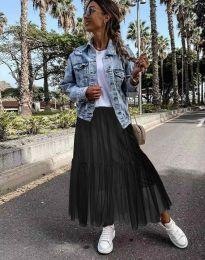 Разкроена дамска пола в цвят черно - код 1130