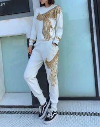 Дамски спортен комплект с блуза с дълъг ръкав и долнище с бродерия в бяло - код 1502
