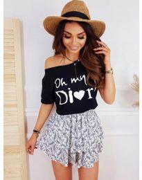 Дамска тениска в черно  с принт код - 1166