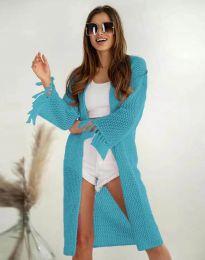 Ефектна дълга плетена дамска жилетка в синьо - код 4539
