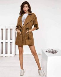 Атрактивно дамско сако от велур в кафяво - код 8135