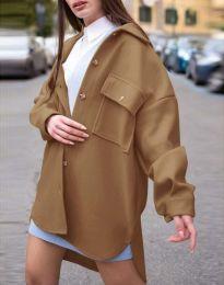 Дамско свободно палто с копчета в кафяво - код 4070