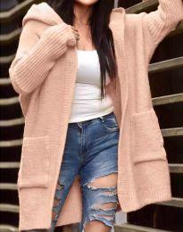 Дамска плетена свободна жилетка с качулка в  цвят пудра - код 9066