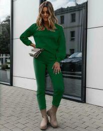 Дамски комплект блуза с дълъг ръкав и панталон в зелено - код 01122