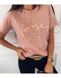 Дамска тениска в розово със златен надпис - код 3350
