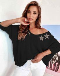 Дамски свободен пуловер с паднало рамо в черно - код 1865