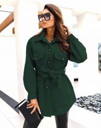 Дамско спортно-елегантно палто с копчета в масленозелено - код 4966