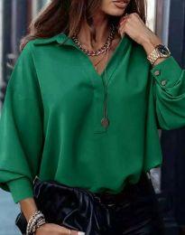 Свободна елегантна дамска риза с дълъг ръкав в зелено - код 2753