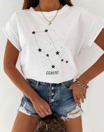 Дамска тениска с принт зодия близнаци в бяло - код 2342