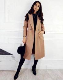 Елегантно дамско палто с копчета в цвят капучино - код 1695